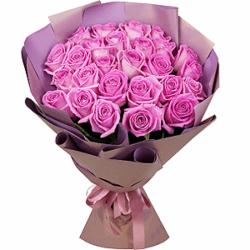 Букет из 25 российских розовых роз 40 см
